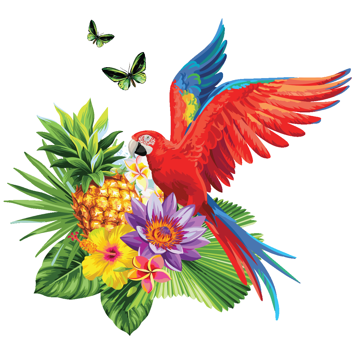 Sticker fleurs tropicales et ara - Stickers STICKERS ...