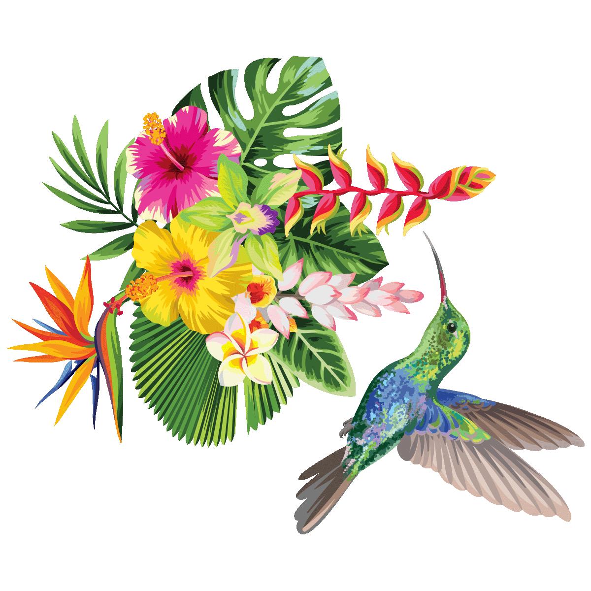 Sticker Fleurs Tropicales Et Colibri