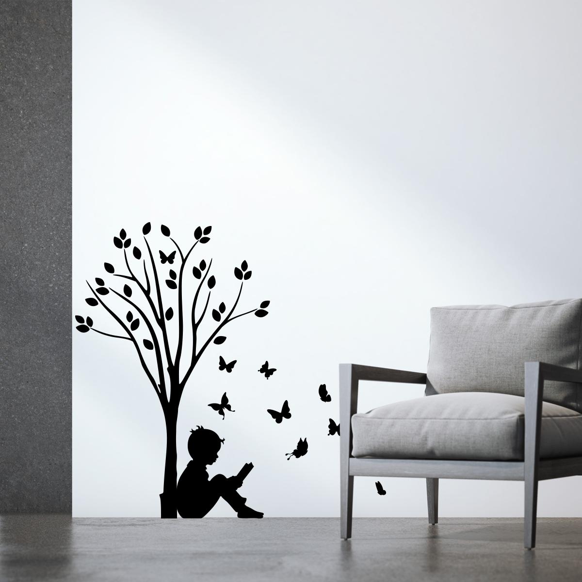 Stickers Muraux Fleurs   Sticker Garçon, Du0027arbres Et Des Papillons