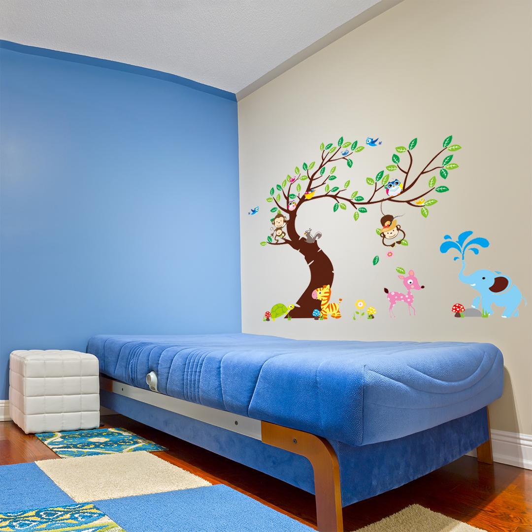 Sticker géant pour enfant - arbre, singes et éléphant