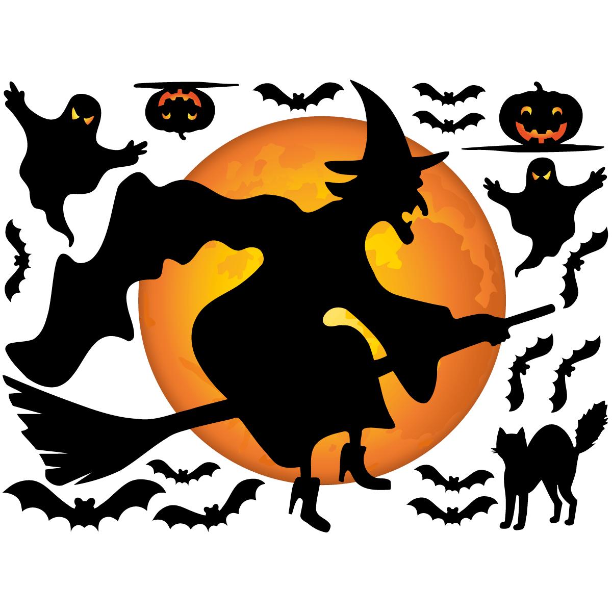 sticker halloween sorci re volante stickers f tes stickers halloween ambiance sticker. Black Bedroom Furniture Sets. Home Design Ideas