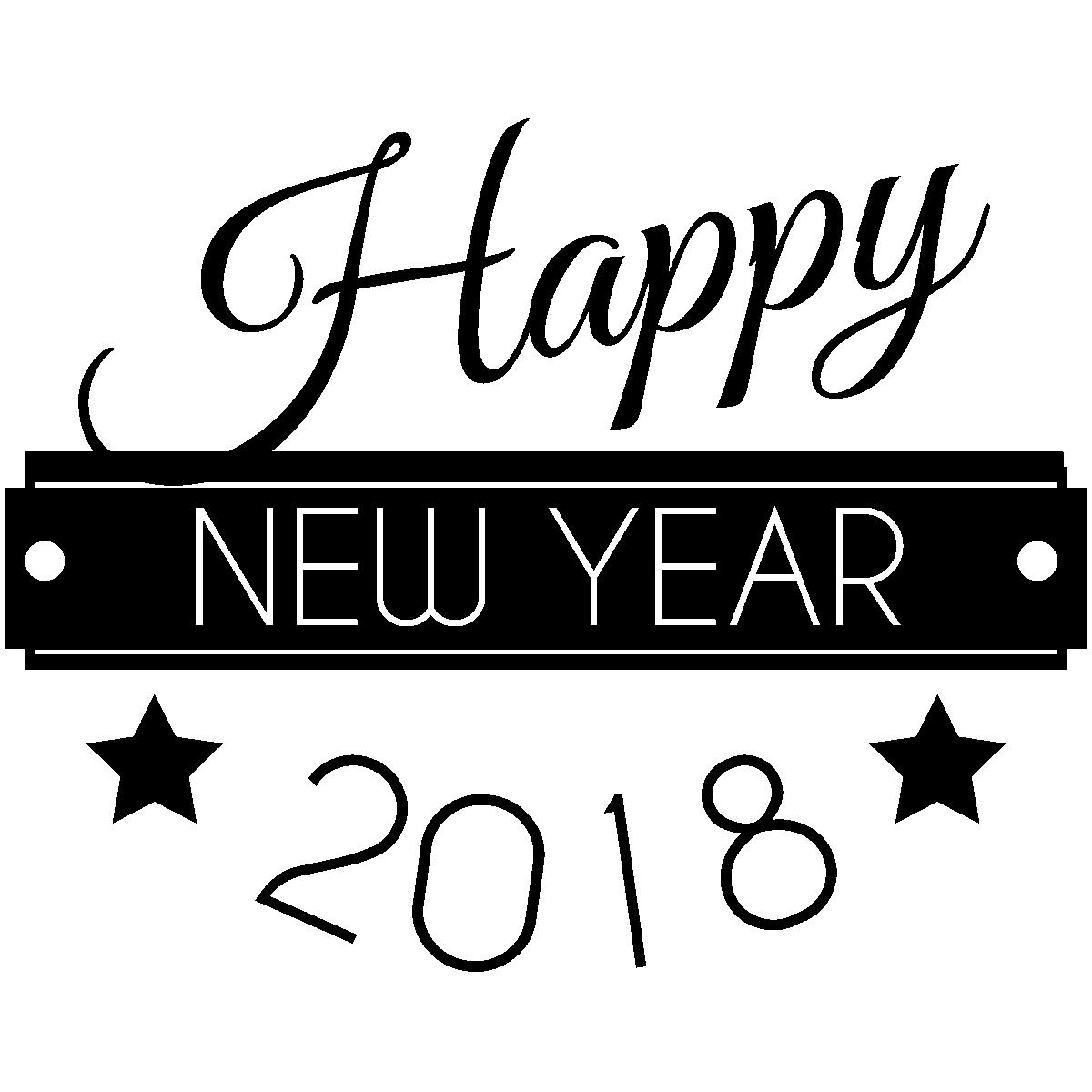 Stickers muraux design sticker happy new year 2018 ambiance sticker com