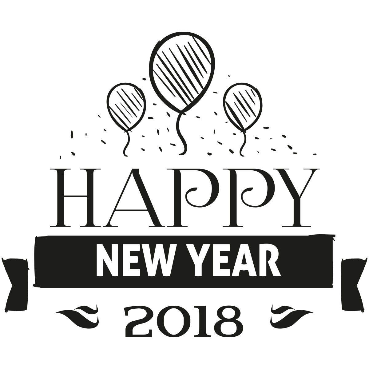 Stickers muraux design sticker happy new year 2018 avec les ballons