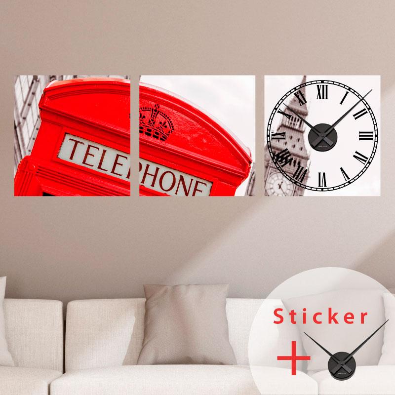 Sticker Horloge Cabine Londonienne Villes Et Voyages Londres