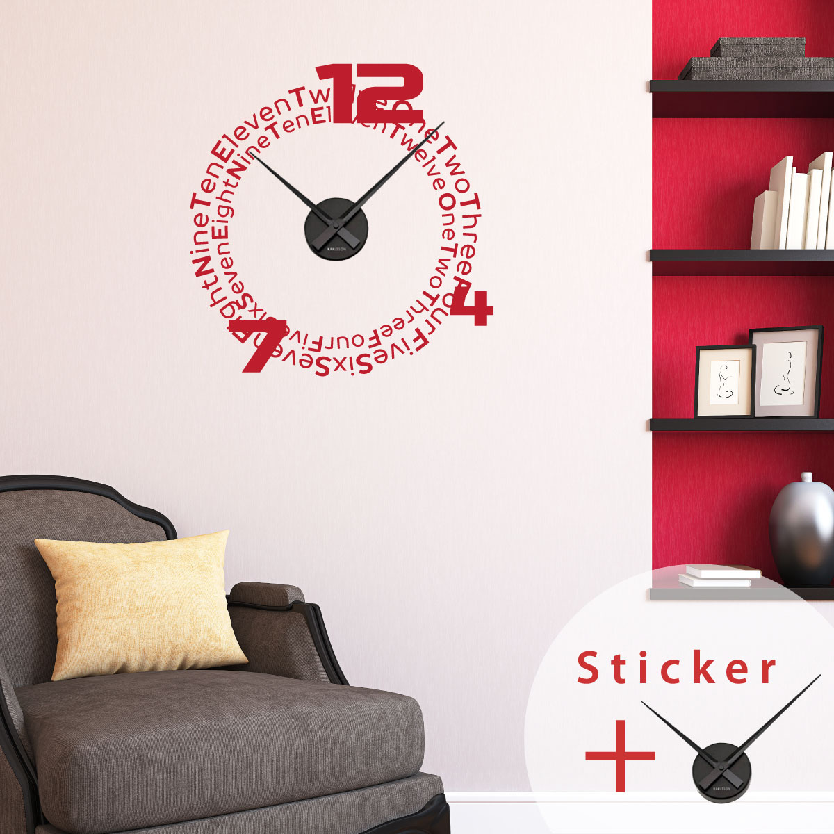 sticker horloge chiffres en anglais sticker citations. Black Bedroom Furniture Sets. Home Design Ideas