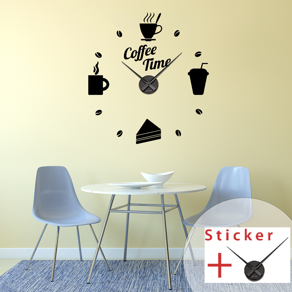 Sticker Horloge Citation Coffee Time Cuisine Design Ambiance Sticker