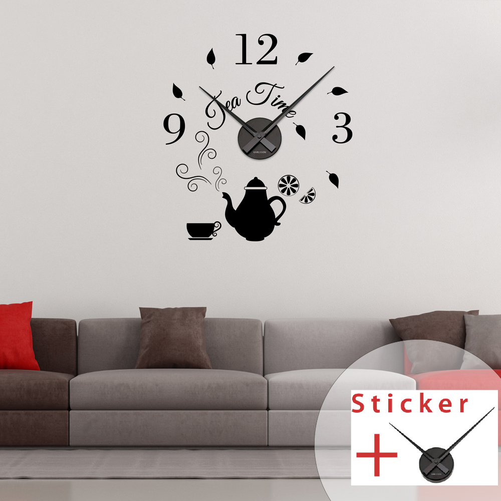 Sticker Horloge Citation Tea Time Cuisine Design Ambiance Sticker