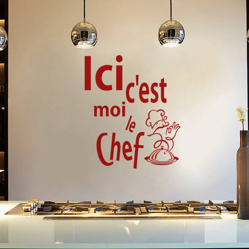 sticker ici c 39 est moi le chef stickers cuisine textes et. Black Bedroom Furniture Sets. Home Design Ideas