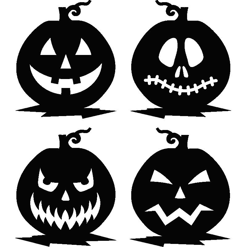Stickers Avec Un Ensemble De Lanterne Citrouille Face