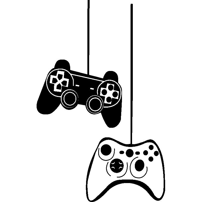 Sticker jeux vid o manettes de jeu stickers chambre ado - Dessin de jeux video ...