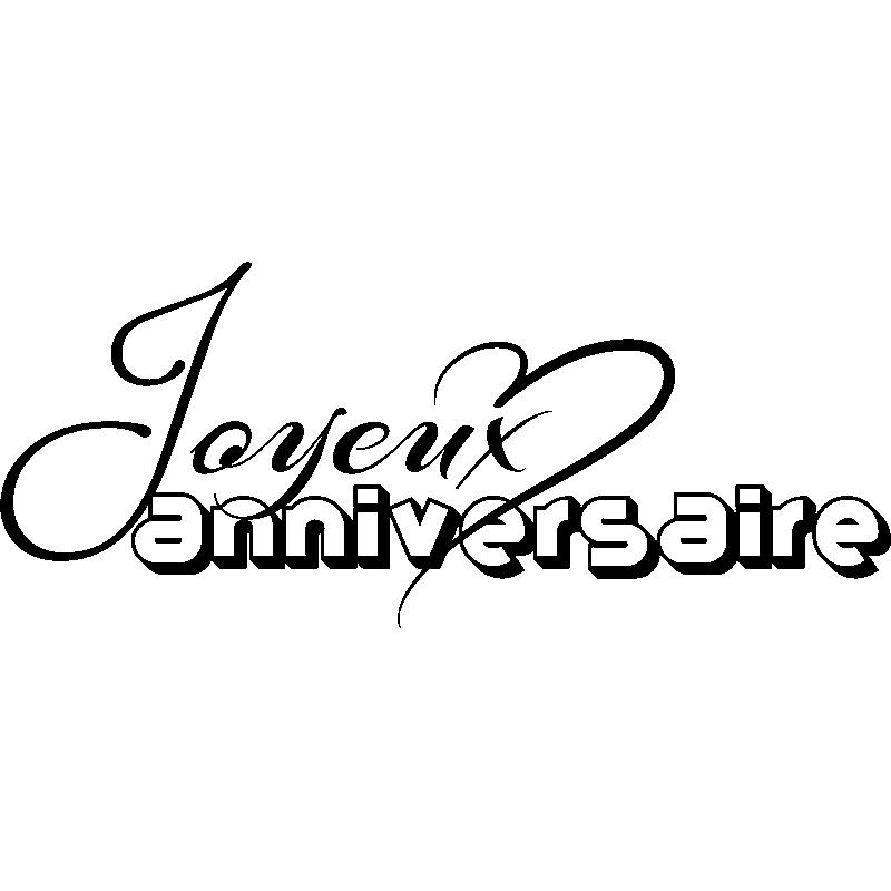 Sticker Joyeux Anniversaire Avec Coeur Stickers Stickers Fêtes