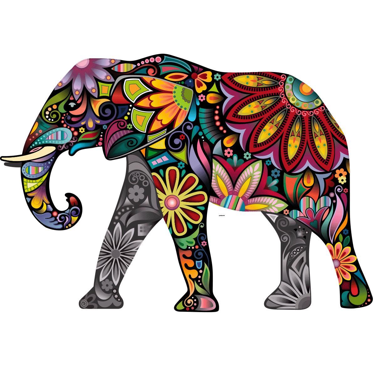 Sticker l 39 l phant color d 39 inde stickers stickers animaux animaux de la jungle ambiance sticker - Elephant indien dessin ...