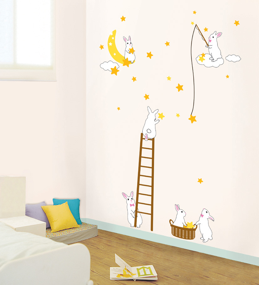 stickers muraux lapins et étoiles