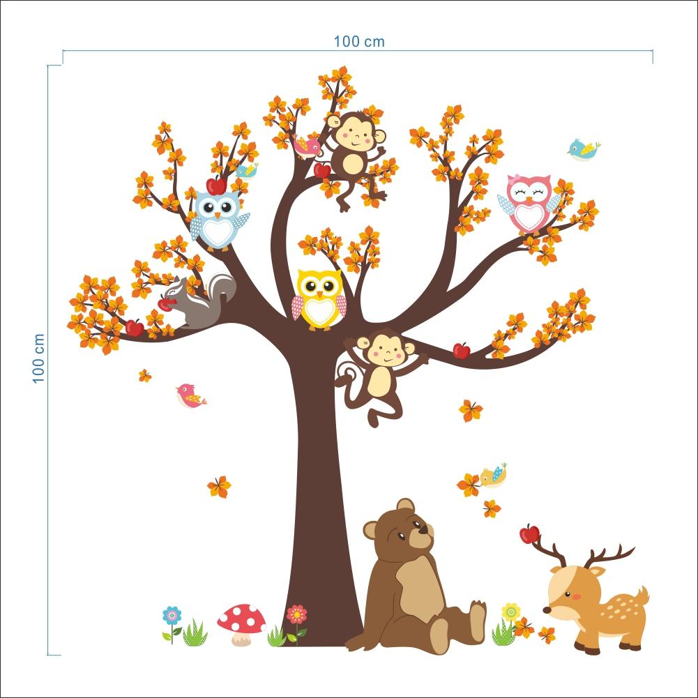 sticker l arbre avec les hiboux et animaux de la for t stickers nature arbres ambiance sticker. Black Bedroom Furniture Sets. Home Design Ideas