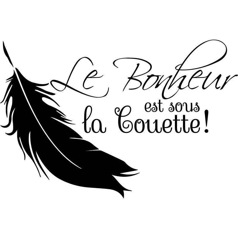 Sticker Le Bonheur Est Sous La Couette Stickers Citations Francais