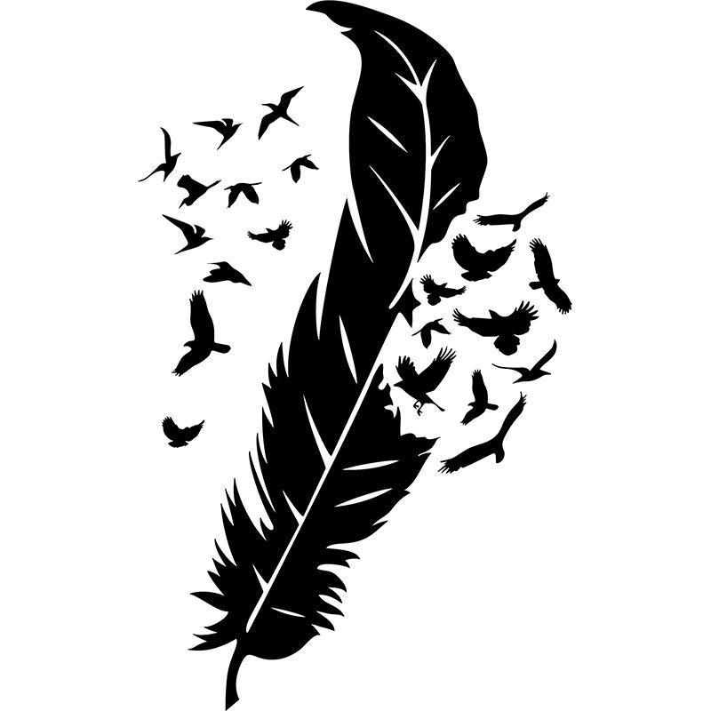 sticker les oiseaux et leurs plumes stickers animaux. Black Bedroom Furniture Sets. Home Design Ideas