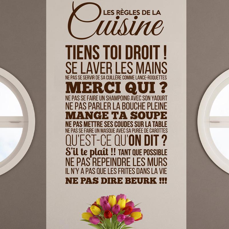 Sticker les r gles de la cuisine design stickers stickers citations fran ais ambiance sticker - Stickers pour cuisine decoration ...