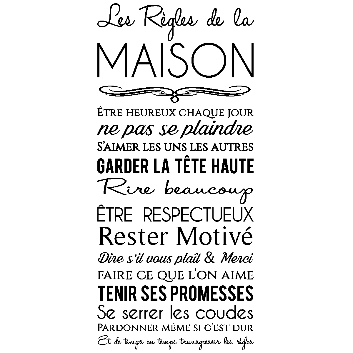 Wall Decal Les Regles De La Maison Design Wall Decal Quote Wall Stickers French Ambiance Sticker