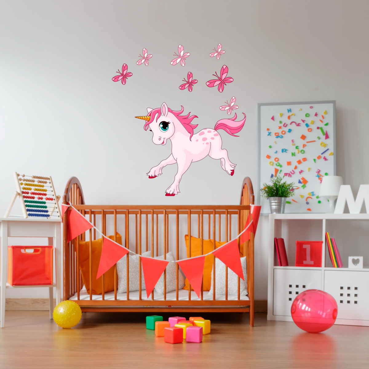 sticker licorne et ses papillons stickers animaux papillons ambiance sticker. Black Bedroom Furniture Sets. Home Design Ideas