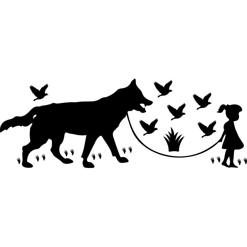 Sticker Loup Les Oiseaux Et Une Petite Fille Stickers