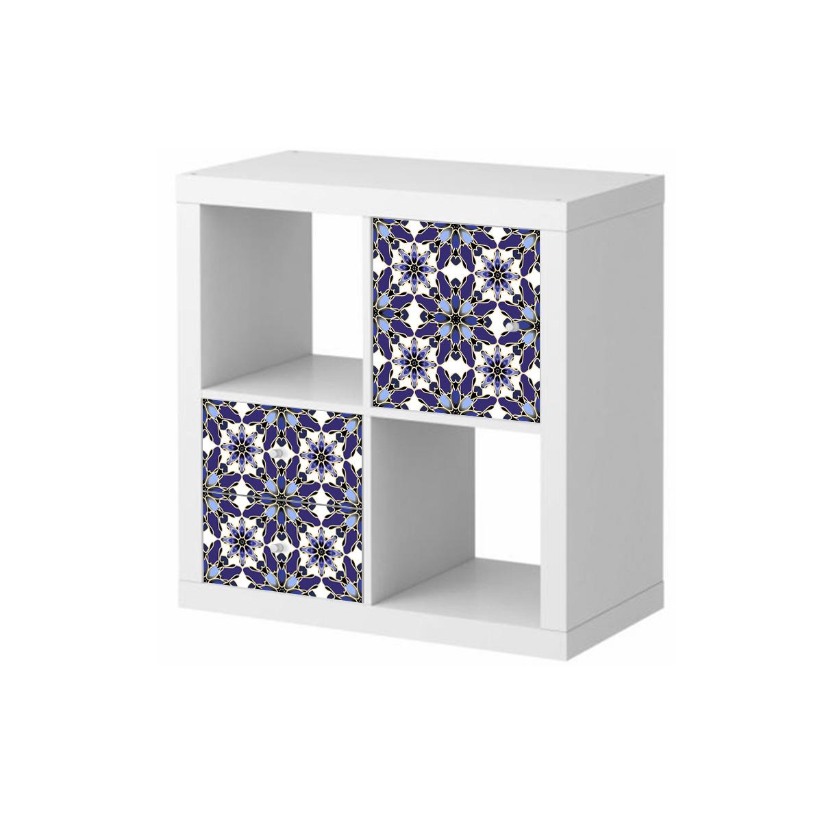 Vinilos muebles Ikea Vidrieras en azul