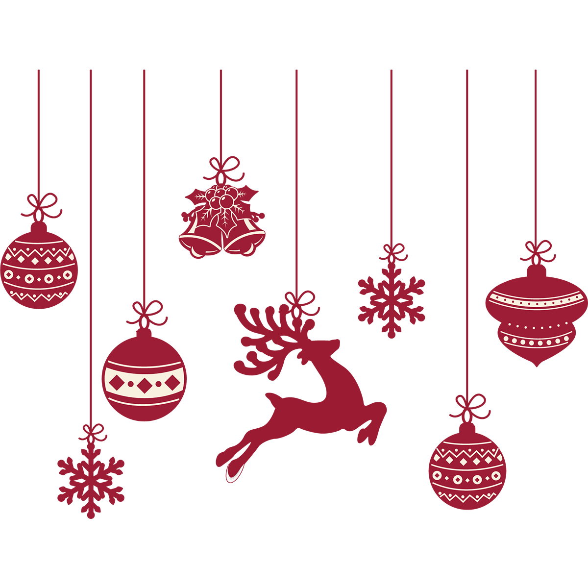Sticker Noël cerfs et boules de Noël - Stickers STICKERS ...