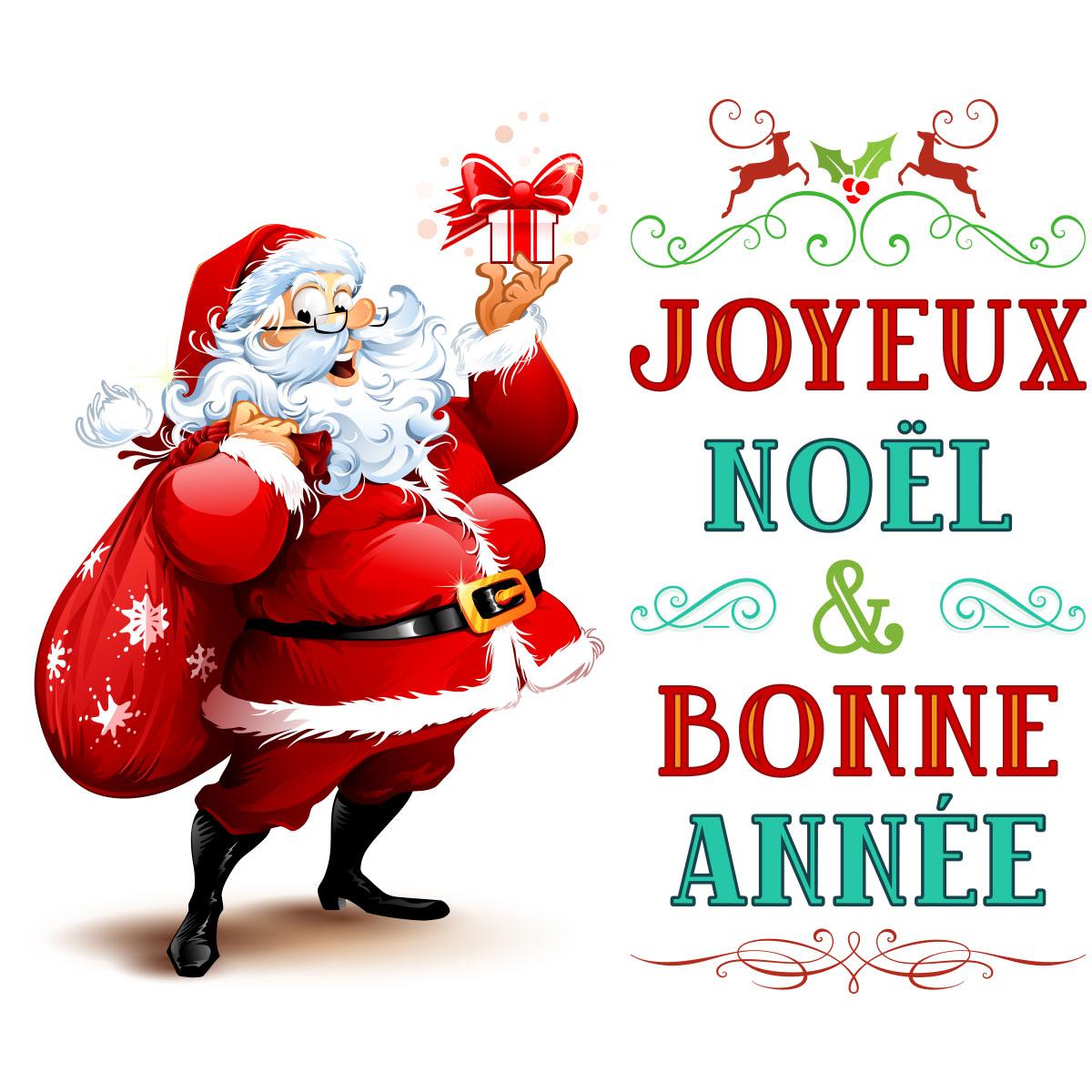 Sticker no l p re no l joyeux no l et bonne ann e - Image humoristique pere noel ...