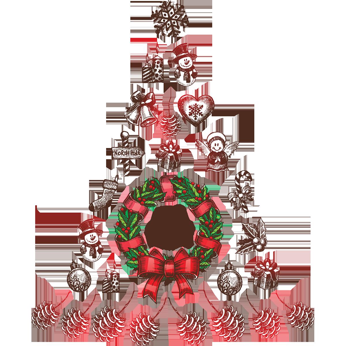 Sticker Noël Sapin De Noël Merry Christmas