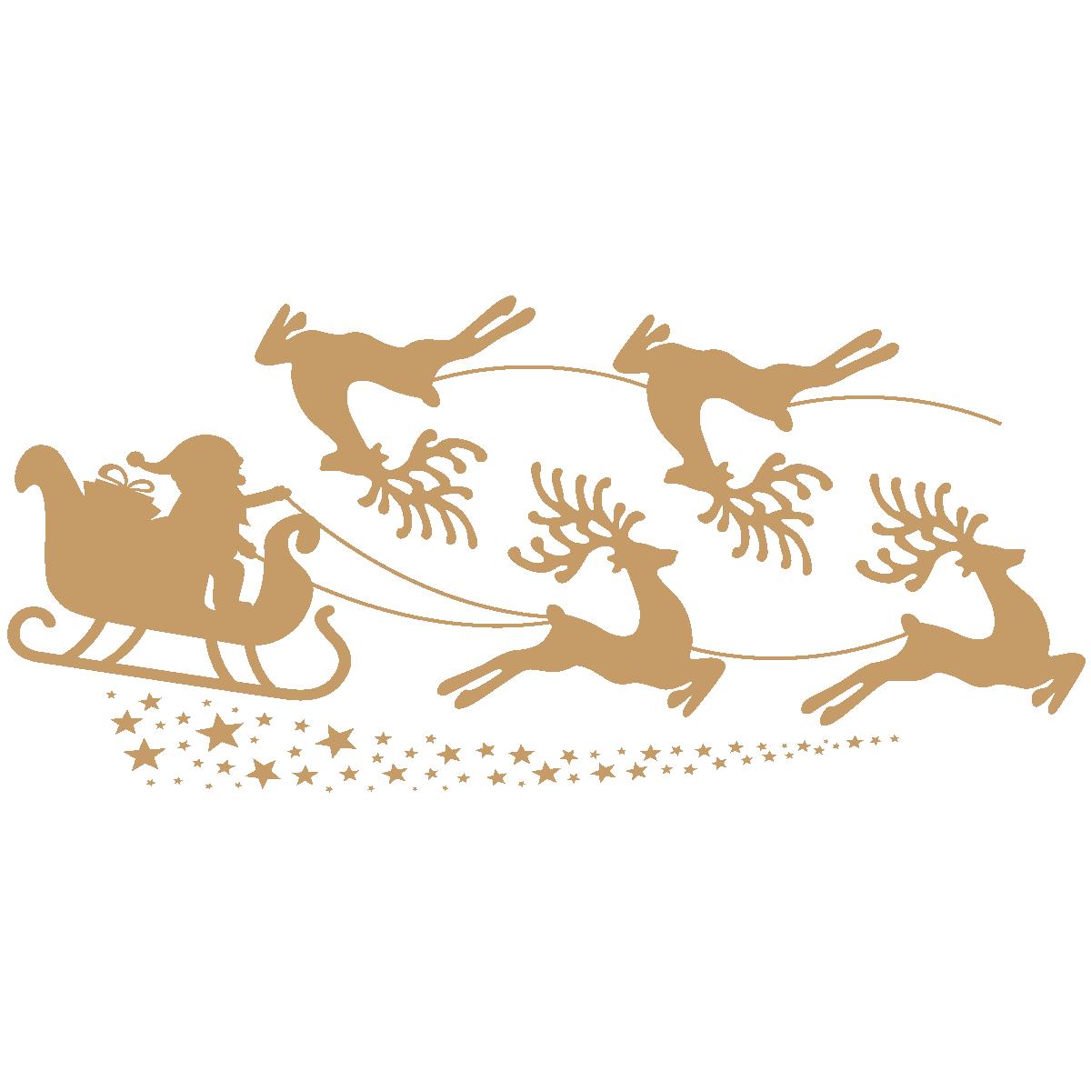 Les Renne Du Pere Noel.Sticker Noël Traineau Du Père Noël Et Les Rennes