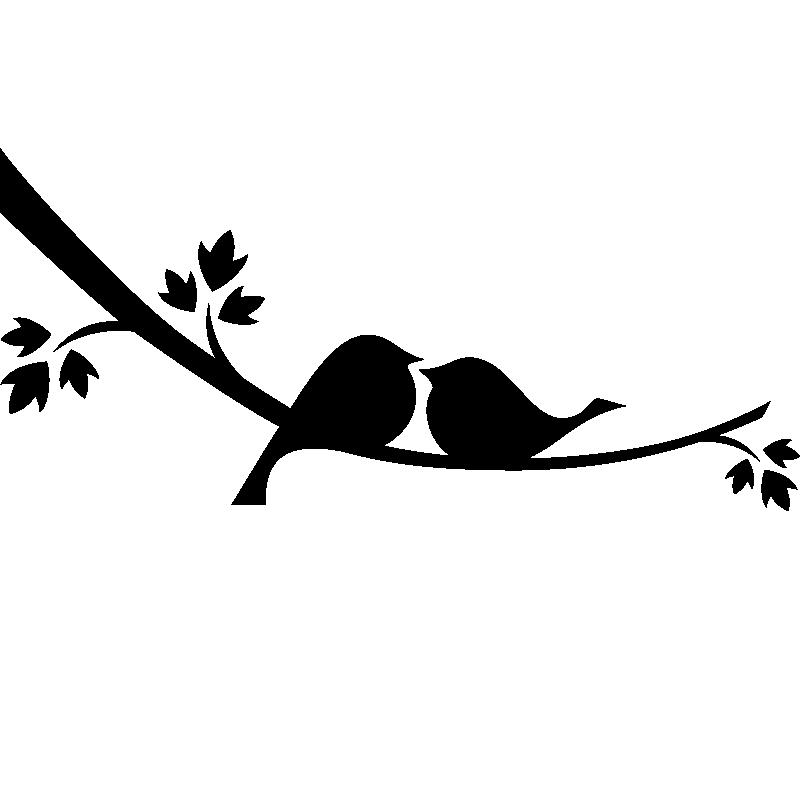 Sticker Muraux Pour Portes Sticker Oiseaux Amoureux Ambiance