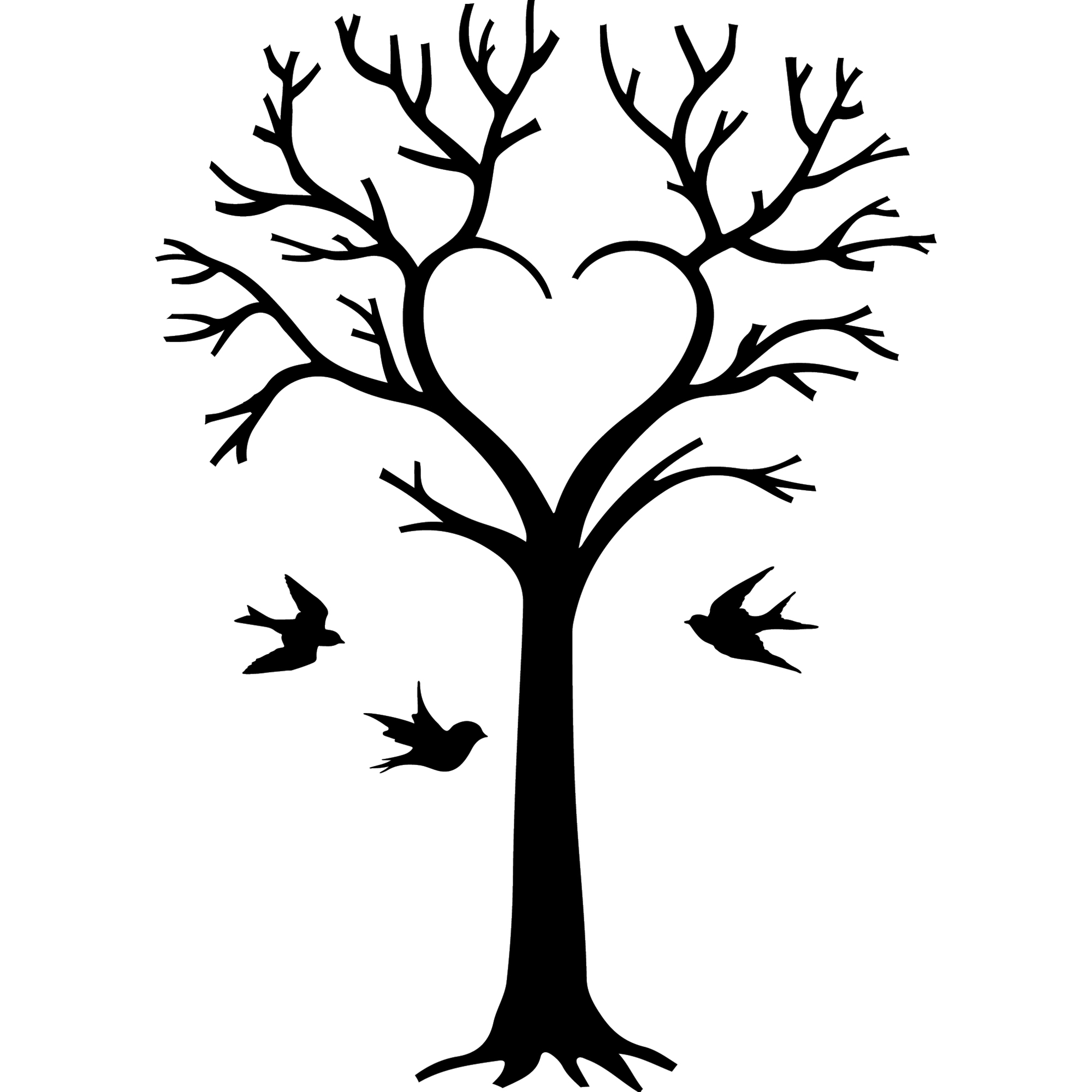 sticker oiseaux et arbre en coeur stickers nature arbres ambiance sticker. Black Bedroom Furniture Sets. Home Design Ideas