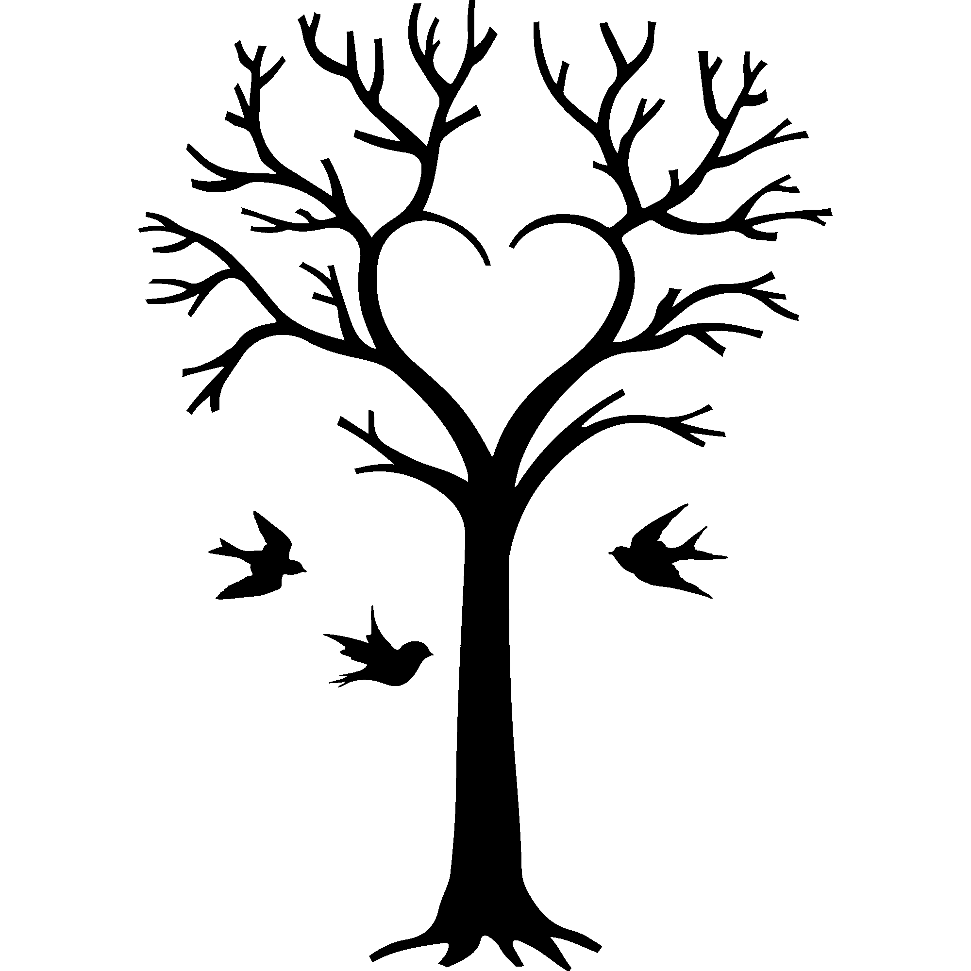 Sticker oiseaux et arbre en coeur stickers nature arbres ambiance sticker - Arbres dessins ...