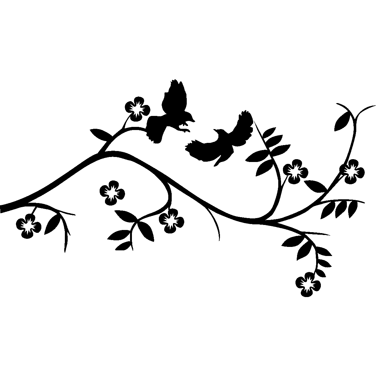 Animals Wall Decals Birds On Branch Wall Decal