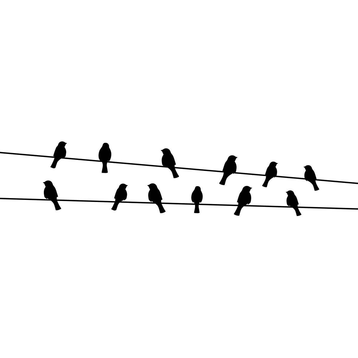 Sticker Oiseaux Sur Un Fil sticker oiseaux sur fils