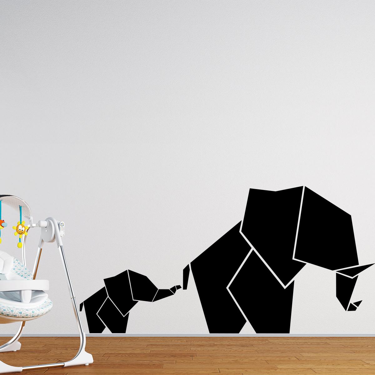 Sticker Origami Elephant Et Son Petit Stickers Animaux Animaux D