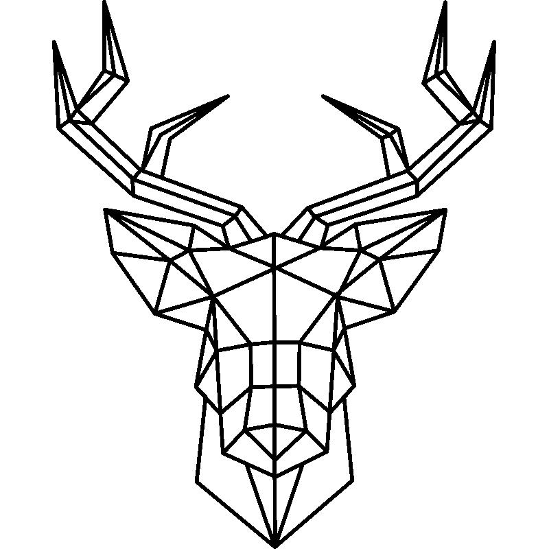 Sticker Origami Tête De Cerf Artistique