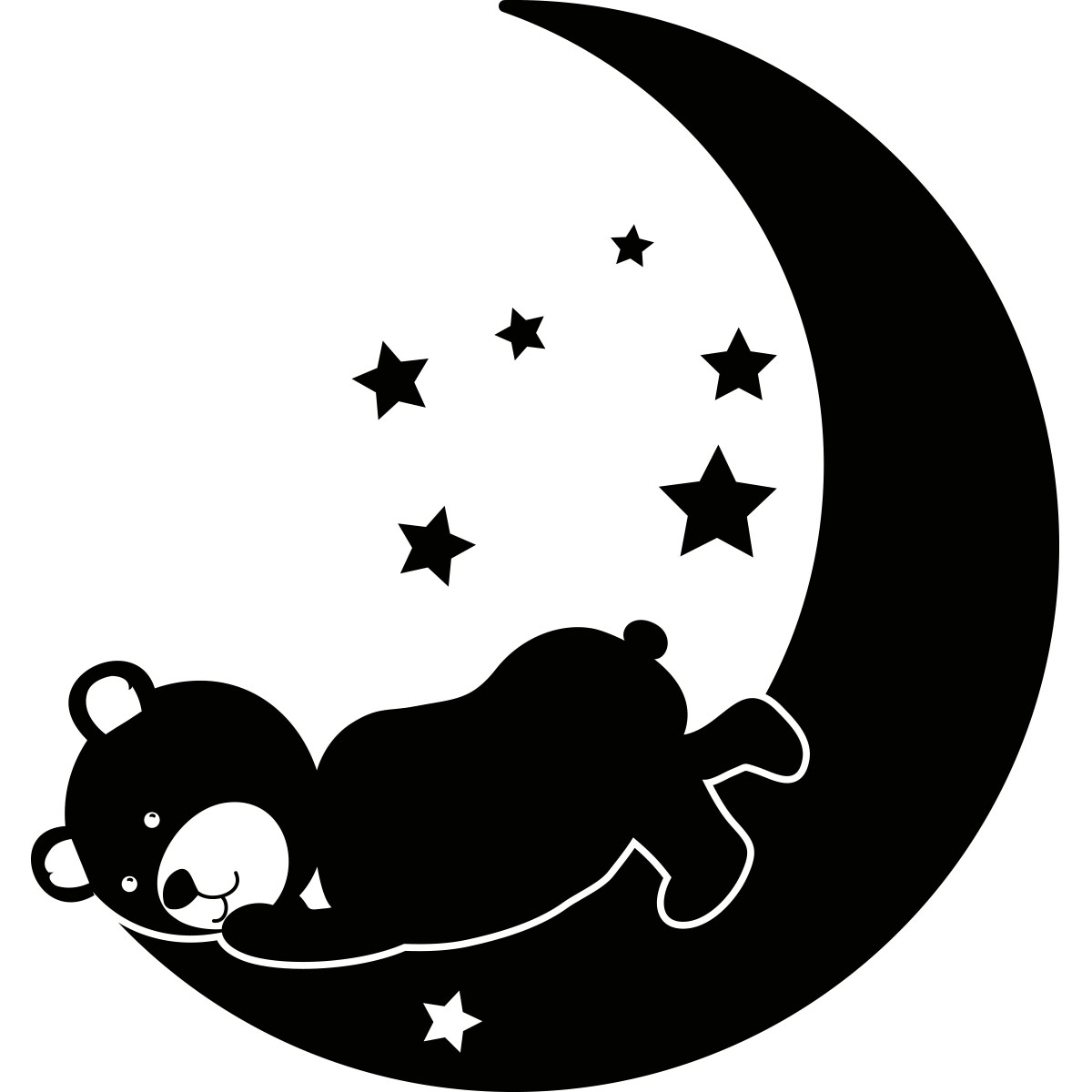 Chambre Garcon Nuage : Sticker ourson dormant sur la lune stickers animaux