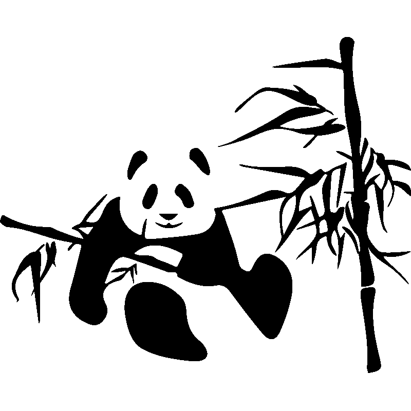 Sticker Panda Sur Un Bambou Stickers Nature Bambous Ambiance Sticker