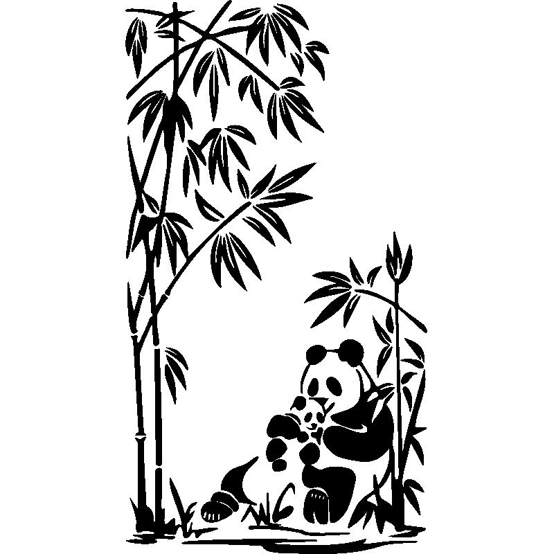 Stickers Muraux Animaux   Sticker Pandas Et Bambou   Ambiance Sticker.com