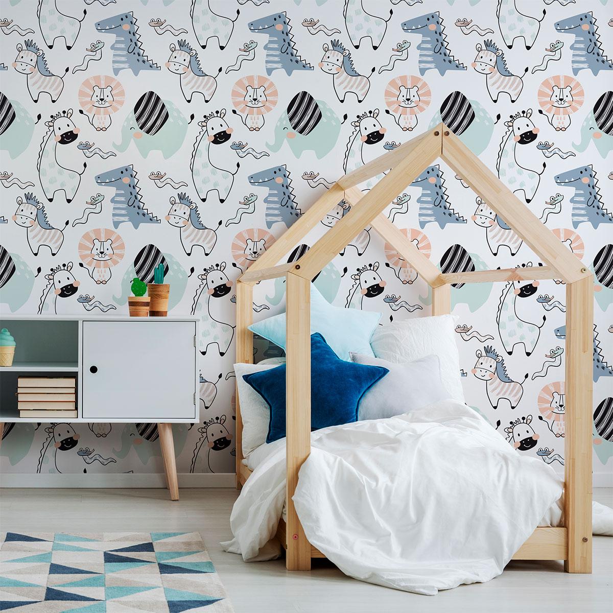 Papier Peint Chambre Fille Ado sticker papier peint enfant animaux de la forêt enchantée