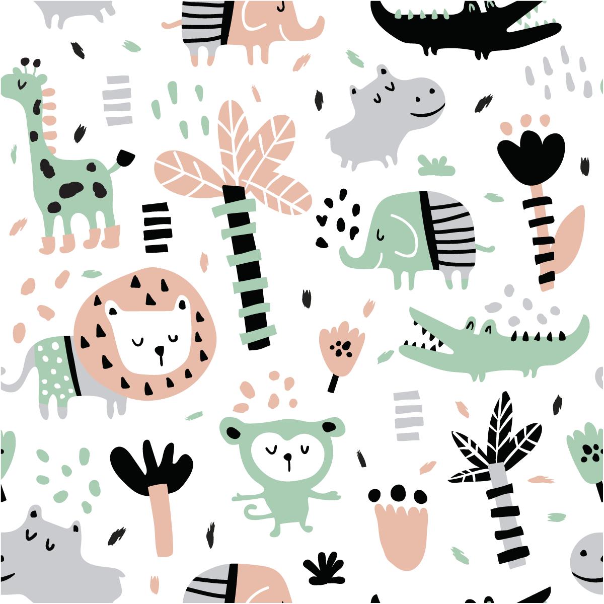 Sticker papier peint enfant animaux exotiques stickers animaux animaux de la jungle ambiance - Papier peint chambre enfant ...