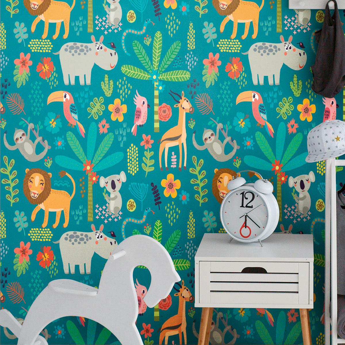 Sticker Papier Peint Enfant La Savane Animaux Animaux De La Jungle
