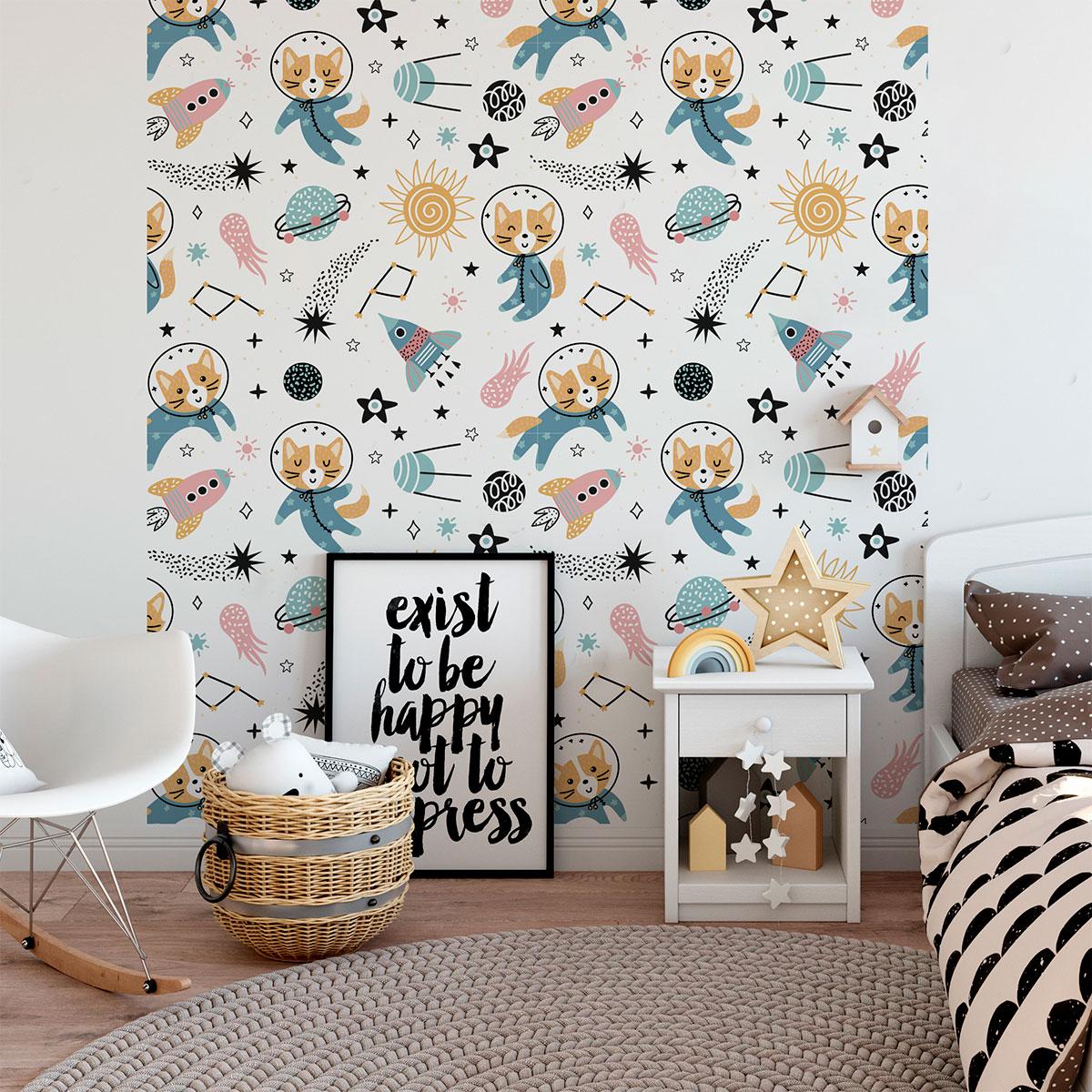 Sticker papier peint enfant les animaux de l 39 espace - Papier peint fille chambre ...