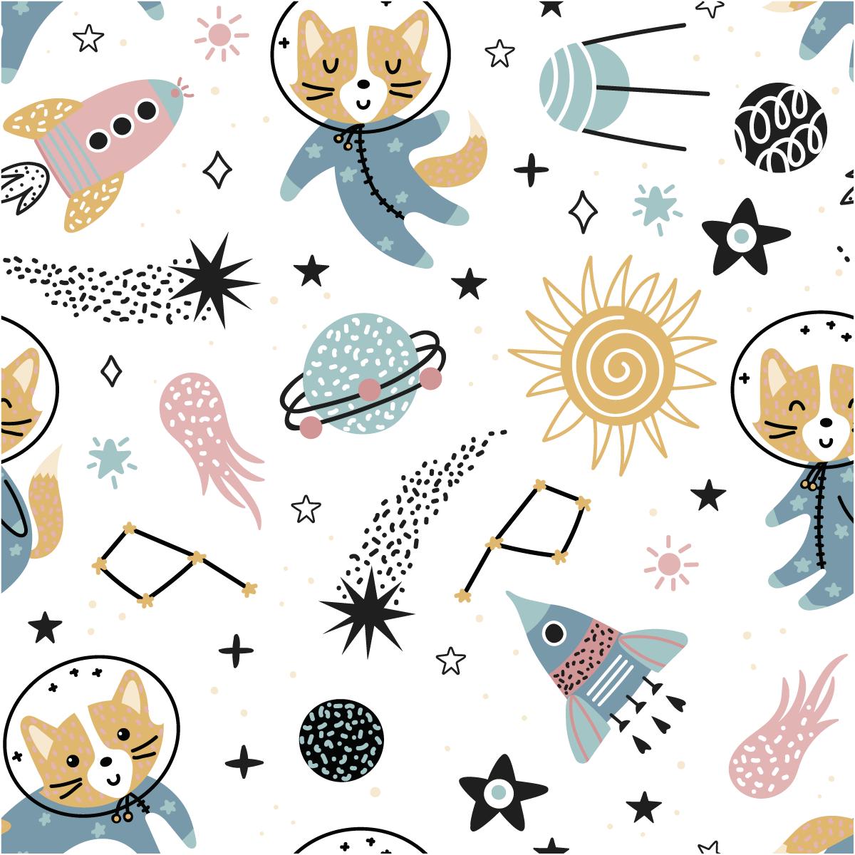 Sticker papier peint enfant les animaux de l 39 espace chambre enfants filles ambiance sticker - Papier peint chambre enfant ...
