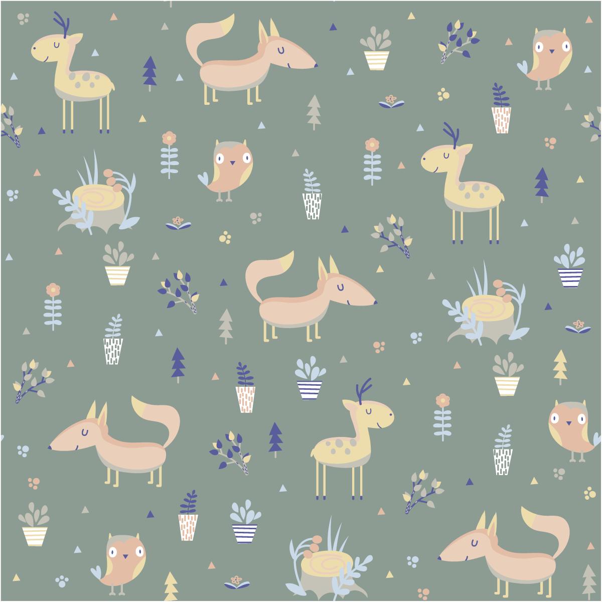 Sticker papier peint enfant les animaux de la prairie – Nature