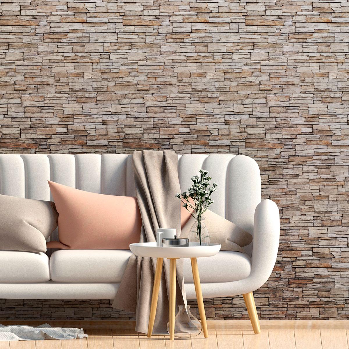 sticker papier peint parement de pierres de besan on. Black Bedroom Furniture Sets. Home Design Ideas