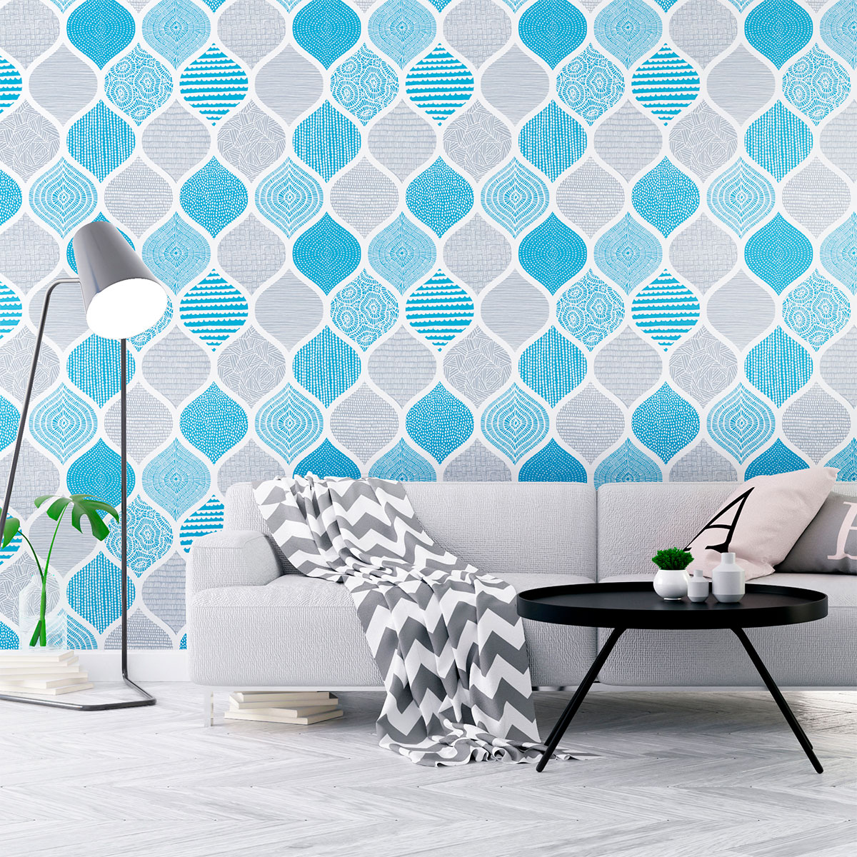 sticker papier peint scandinave egil salon design ambiance sticker. Black Bedroom Furniture Sets. Home Design Ideas