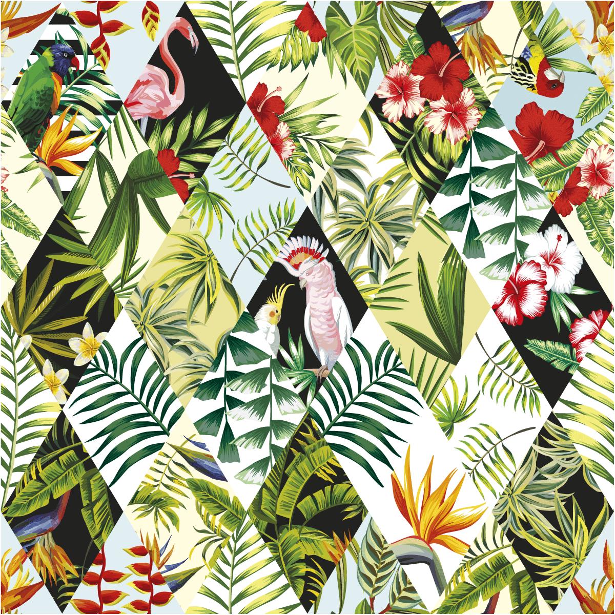 Sticker Papier Peint Tropical Jungle Nature Arbres Ambiance Sticker