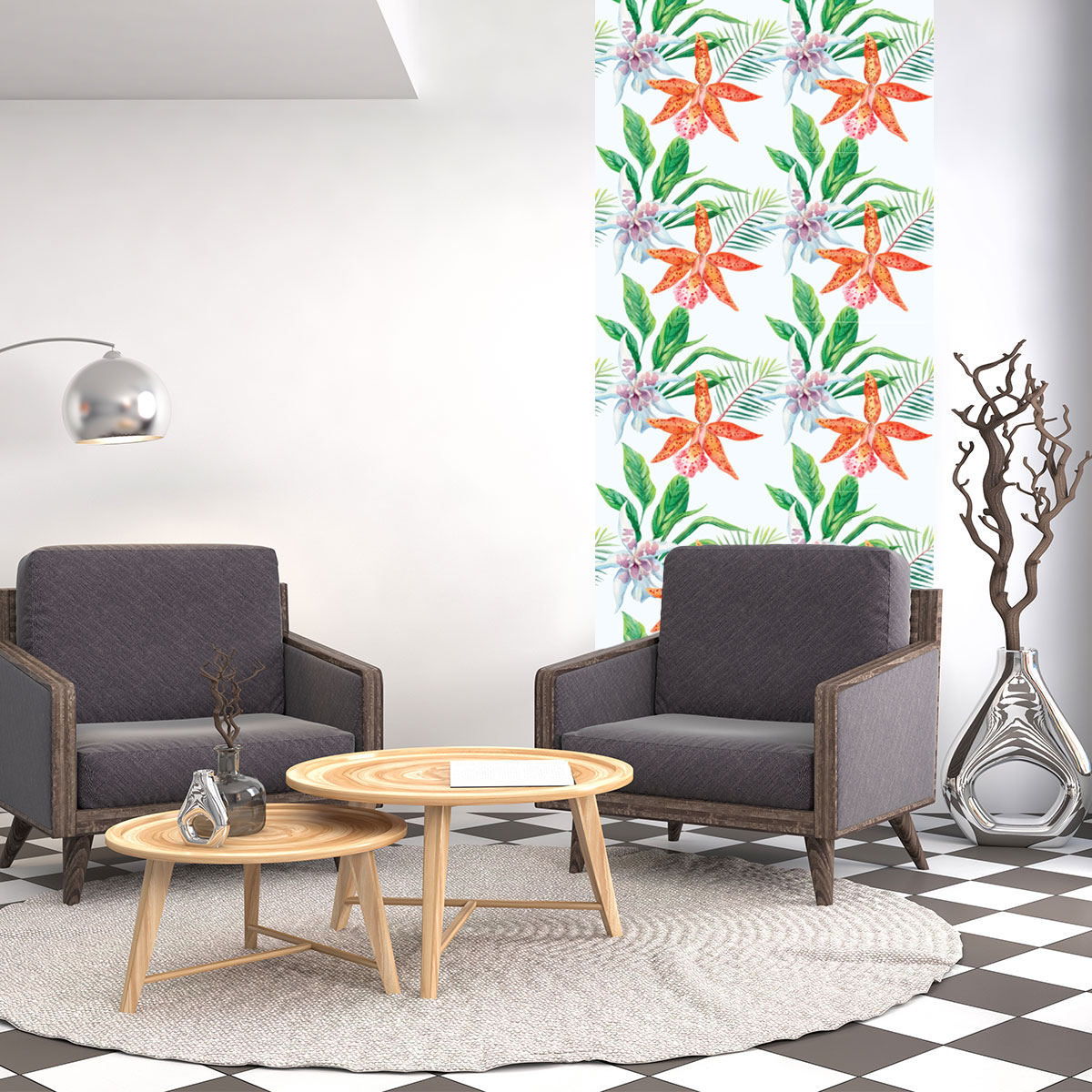 sticker papier peint tropical les orchid es nature fleurs ambiance sticker. Black Bedroom Furniture Sets. Home Design Ideas