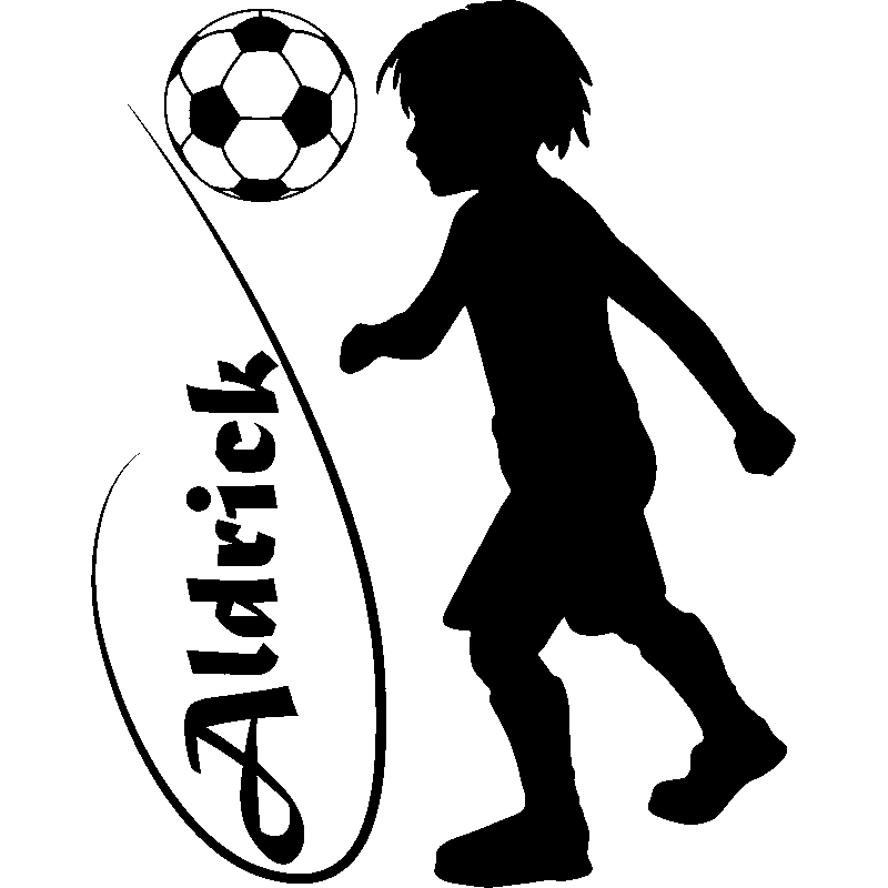 sticker personnalisable silhouette enfant jouant au foot stickers sports et football. Black Bedroom Furniture Sets. Home Design Ideas